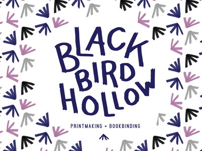 Blackbird Hollow bookbinding bookshop books printmaking business blackbird bird branding gouache pattern texture illustration lettering artist logo hand lettered lettering