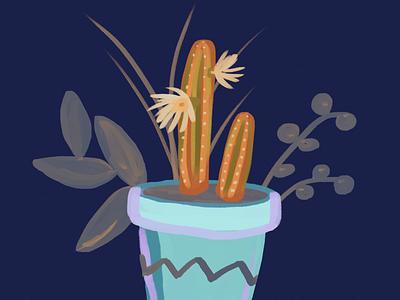 Organ Pipe cacti illustration digital painting gouache succulent plant art botanical potted plant cactus