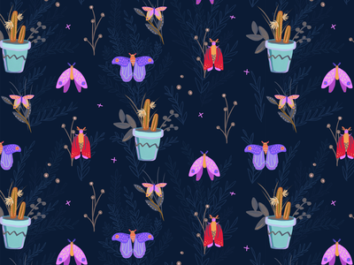 Twilight Moths dark night twilight potted plants cacti gouache digital painting illustration insects moths patterns surface pattern fabric