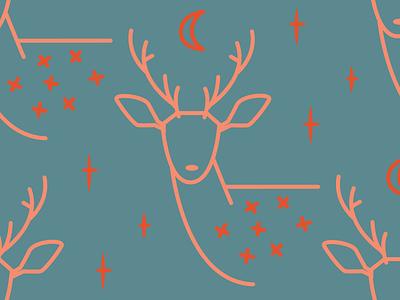 Woodland Deer storybook children prints fabric pattern design moon stars deer animals woodland pattern surface pattern