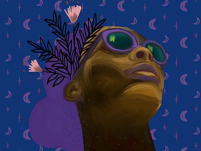 Wild sunglasses stars moon floral illustration digital painting portrait wild