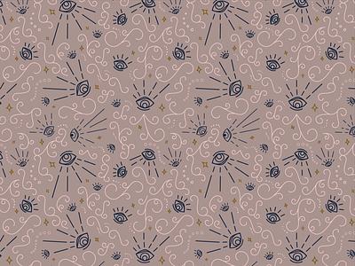 Nolite Pattern - Blush feminine ornate flourishes stars ancient eyes wallpaper surfacepattern vector pattern illustration
