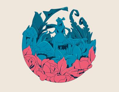 Alice s Adventures in Wonderland childrens illustration book cover linework character color palette design illustration