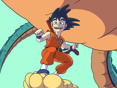 Kid Goku manga design illustration