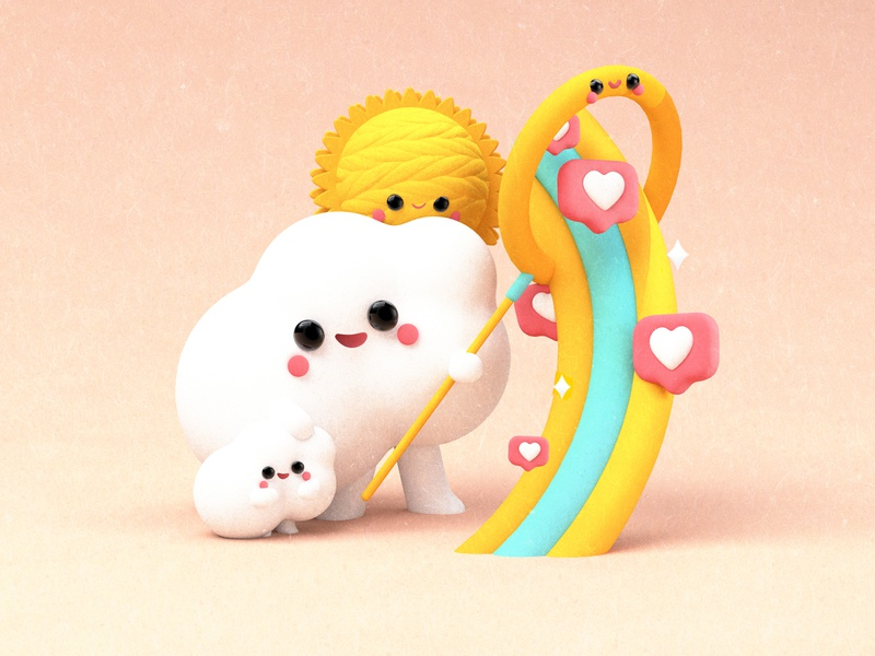 HUNTING HEARTS! 😊❤️✨ blender3d c4dart dribble cute art cute kawaii love like instagram clouds animated colors 3d flat  design flat character dribbble animation illustration design