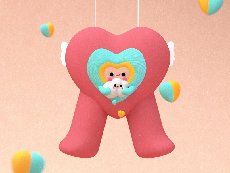 GREAT LOVES💛😊✨ lovers tusa kids heart apple kawaii art kawaii clouds love dribbble dribble character colors 3d branding flat  design animation illustration design