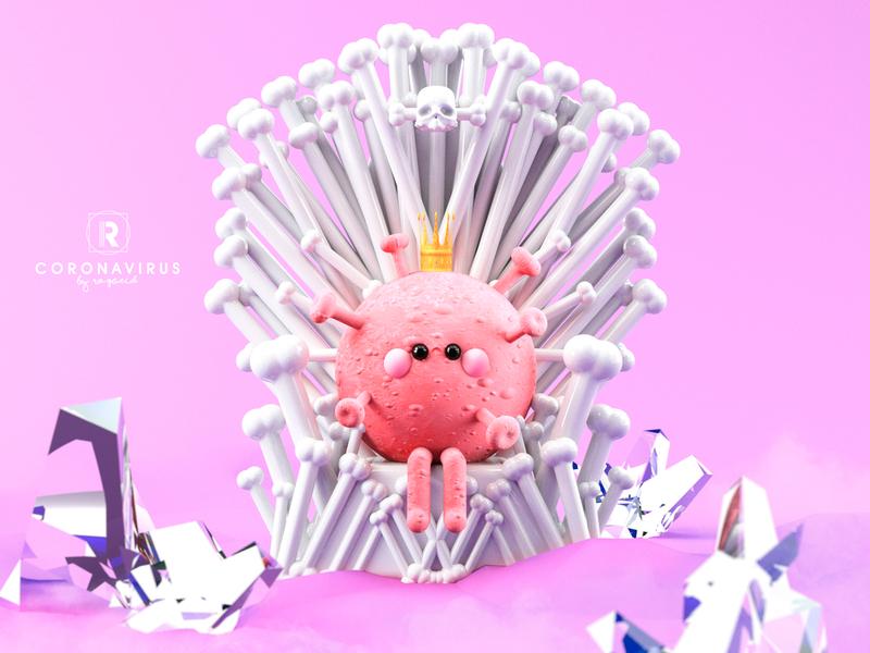 CORONAVIRUS🦠🧫 game of thrones chinaart instagram 3d 3d art china wuhan google samsung apple virus design animation illustration colors character dribbble corona coronarender coronavirus