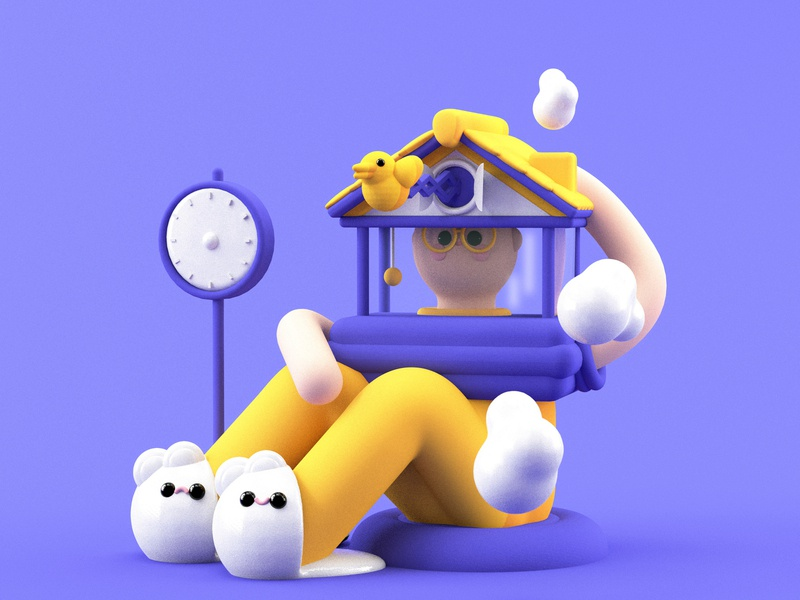Stay At Home stayhome character design apple covid-19 coronavirus cloud yellow purple stayathome home dribble design colors flat 3d animated dribbble character animation illustration