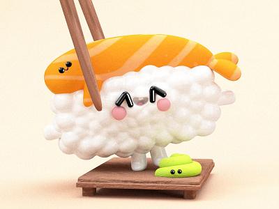 Sushi Family google characters follow roll modern fresh dribbble best shot fish sushi ux webdesign ui  ux page web ui colors 3d dribbble character illustration