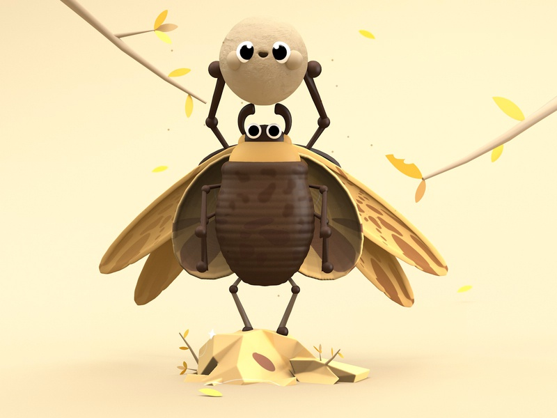 Inseparable Friends apple safari 3d artist animated colors illustration dribbble kawaii art kaws animals texture firstshot best shot insect nature illustration love nature beetle 3d art 3d