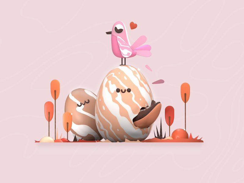 Finding new lives app landing pattern plants birds eggs web website design webdesign ui design animation character ux ui animated dribbble 3d colors illustration design