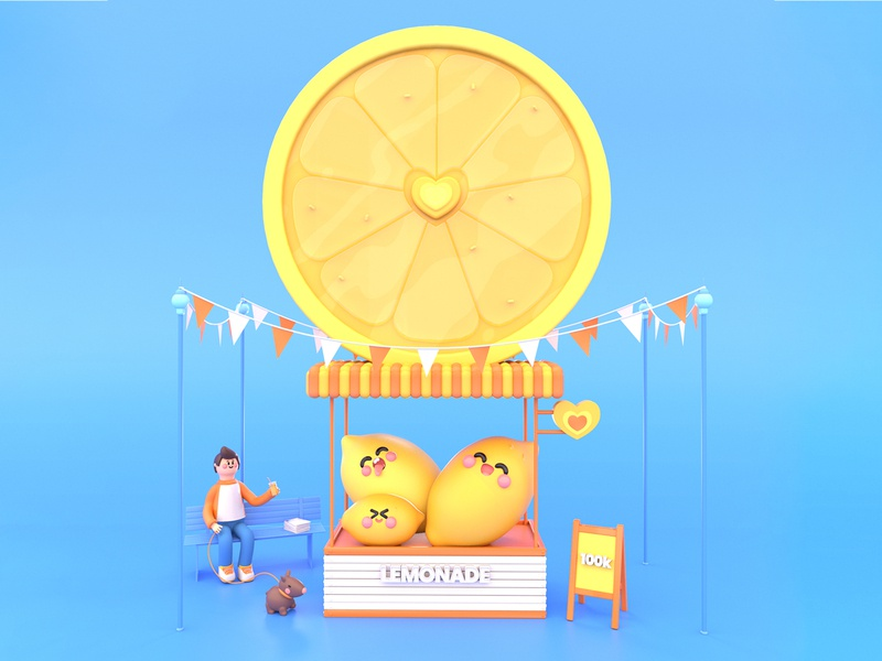 Refreshing Summer dribbble best shot festival drink store character animation lemons summertime fruit yellow character design dog lemonade lemon summer character design dribbble 3d colors illustration