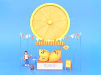 Refreshing Summer dribbble best shot festival drink store character animation lemons summertime fruit yellow character design dog lemonade lemon summer character design dribbble 3d colors illustration
