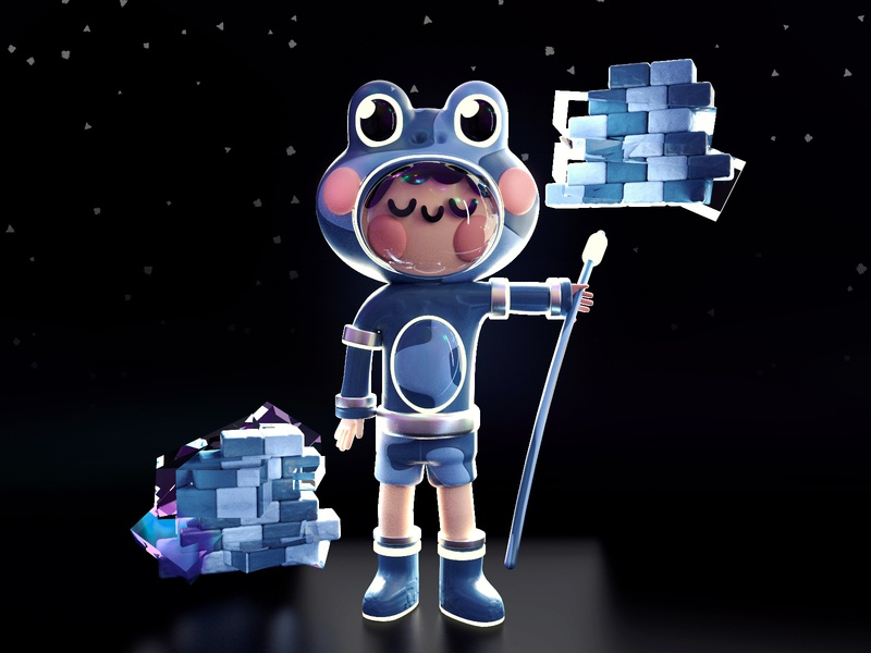 Frog Captain photoshop pattern render c4d space astronaut captain frogs frog kawaii art kawaii 3d artist 3d art webdesign design dribbble best shot colors 3d character illustration