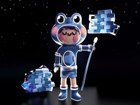 Frog Captain photoshop pattern render c4d space astronaut captain frogs frog kawaii art kawaii 3d artist 3d art webdesign design dribbble best shot colors 3d character illustration