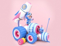 Captain Frog Machine rocket dribbble best shot play kawaii art 3d artist machine car character design design colors love character dribbble illustration maxon3d frog toys toy design toy 3d