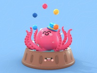 Juggling Octopus dribbble best shot pulpo pattern art webdesig toys juggling circus octopus logo octopuss kawaii art 3d art illustrator love 3d dribbble colors character design illustration octopus