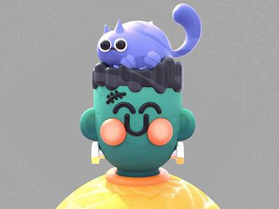 Frankenstein Kawaii spooky zombi webdesig love spider web dribbble best shot halloween design colors maxon 3d artist 3d kawaii art kawaii frankenstein catlover cats character design character characterdesign halloween