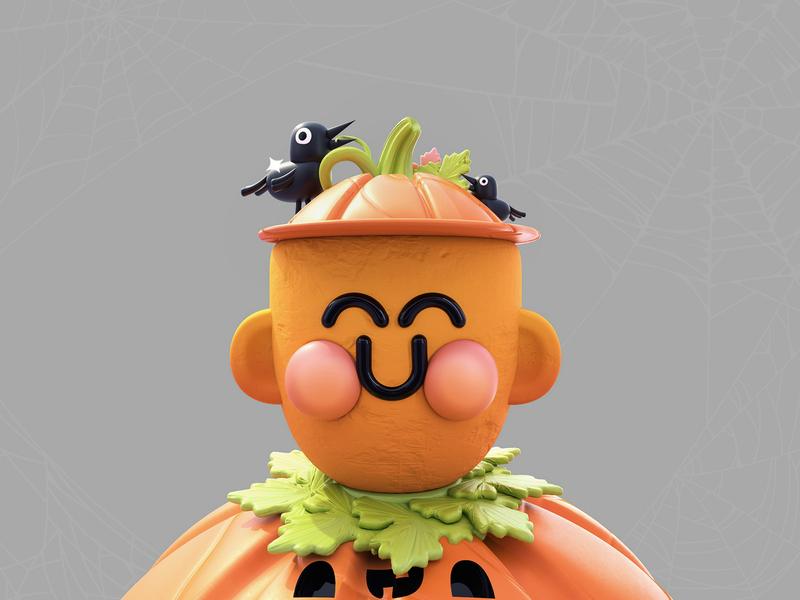 Kawaii Pumpkin web halloween halloween party orange characters characterdesign kawaii kawaii art raven vector texture pumpkins pumk pumkin pumpkin love dribbble character 3d colors