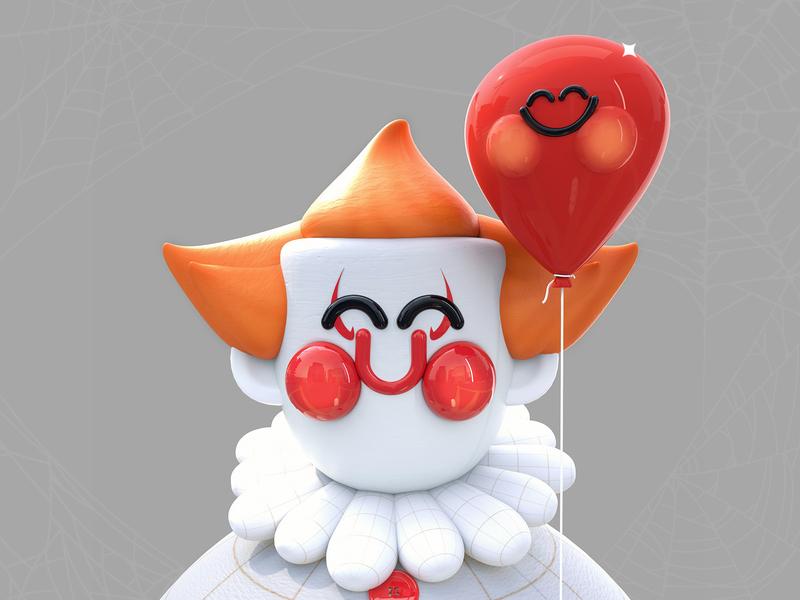 It Kawaii web design illustration art maxon cinema 4d red 3d artist clown spooky season halloween party halloween design halloween kawaii balloon it 3d art kawaii art love character 3d colors illustration