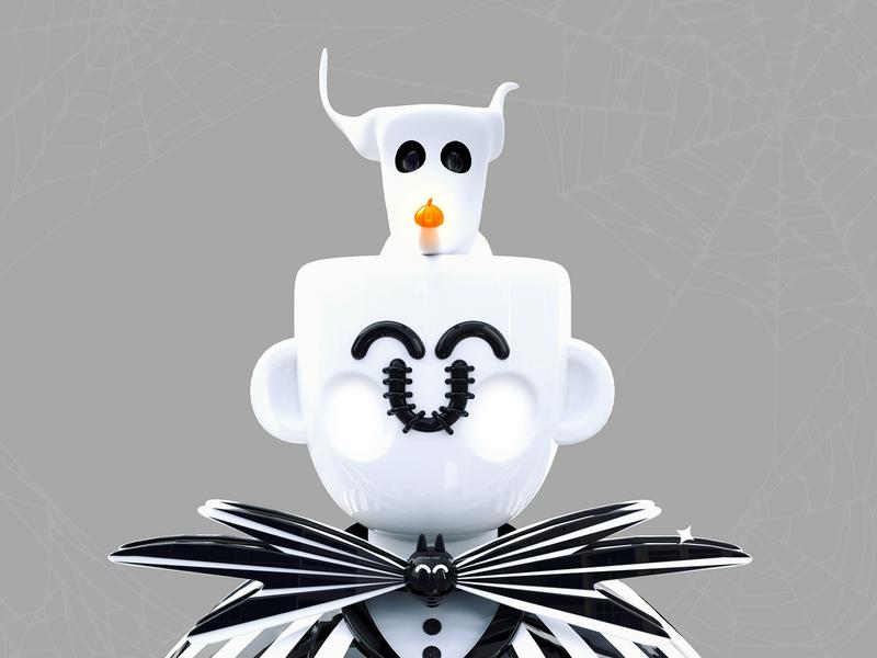 Jack Kawaii roqueid elegant skeleton trick or treat dribbble best shot spider web 3dsmax character design characters pumpkin web design 3d artist 3d art 3d black  white halloween costume halloween halloween party jack tim burton