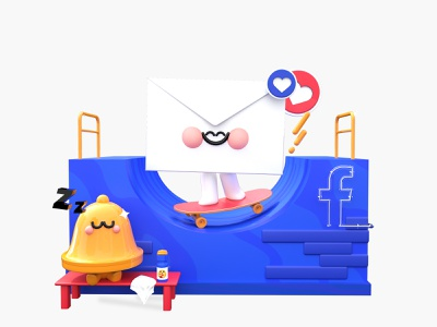 Fast Messaging sport bell app design like lover blue 3d art illustration art facebook cover character design characters kawaii love reactions skateboarding skateboard message web design facebook roqueid