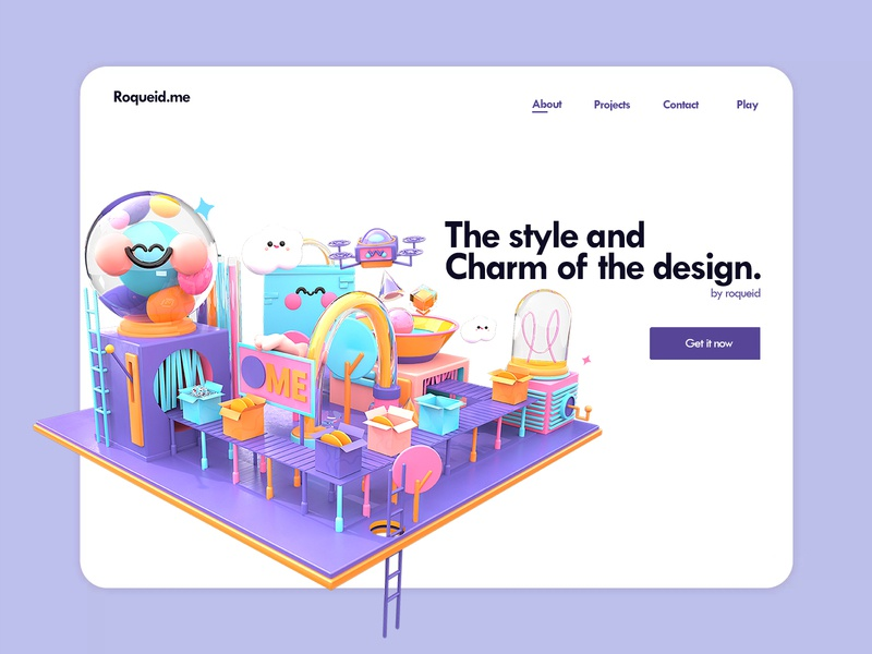 Homepage of your dream. homepage design clouds animation candy box drone illustration art web 3d artist 3d art kawaii kawaii art colors landingpage landing page website design web design website roqueid