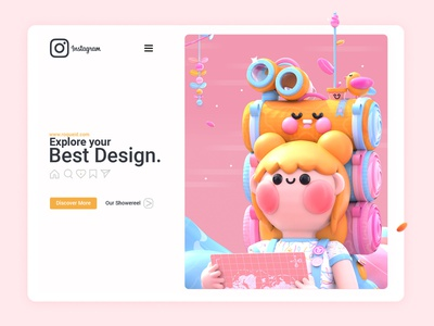 Explore your Best Design explore kawai page landing page landing design landing page design web design ux ui 3d artist kawaii art 3d art love character colors 3d website design web instagram banner instagram