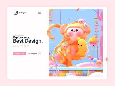 Baboon Monkey Family nature web design landing page c4d colors banana kawai kawaii kawaii art 3d artist 3d art 3d web website design illustration animal instagram jungle leaves monkey