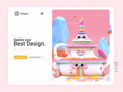 Teapot Palace illustration art landing page design love web design instagram banner web instagram 3d art 3d artist monkey palace nature tea teapot ux  ui kawaii art kawaii uidesign uiux