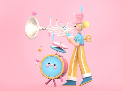 Happy New Year 2021 dribbble best shot happy new year illustration art ui  ux web drums music band trumpet kawai ui 3d artist kawaii kawaii art 3d art love character colors 3d illustration