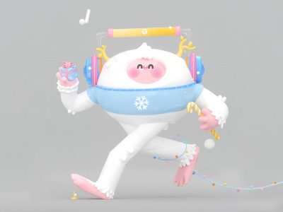 Charming Yeti holidays headphones charming character design design colors ui c4d illustration art illustration happy snowflake snowman snow gift kawaii art kawai kawaii 3d art 3d