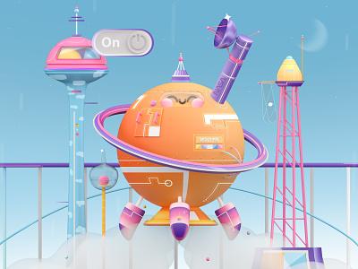 Saturn Rocket dribbble best shot web design 3d art character design landing explore funny blender 3d c4d love colors kawaii art illustration art 3d kawaii futuristic universe space rocket future