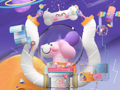 Astronaut Dog galaxy planets spaceship astronaut space bones dog dog illustration love colors dribbble best shot 3d artist kawaii kawaii art 3d art illustration dribbble character design 3d