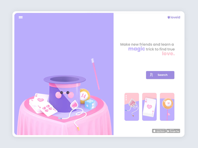 Magic Love valentines day roqueid 3d website ui uidesign 3d artist rabbits magic 3d animation landing page web web design illustration animation characters love kawaii kawaii art kawai 3d