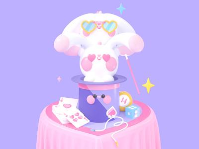 Magic Love valentines day roqueid 3d website ui uidesign 3d artist rabbits magic 3d animation landing page web web design illustration animation characters love kawaii kawaii art kawai 3d