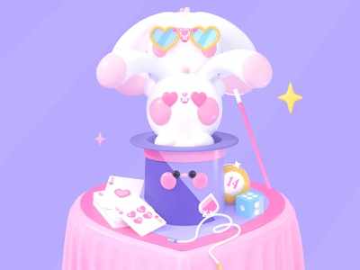 Magic Love Vol 1. valentines valentine day magic love character character design design hearts uidesign 3d artist 3d 3d art rabbit rabbits kawaii art kawaii kawai illustration art dribbble dribbble best shot