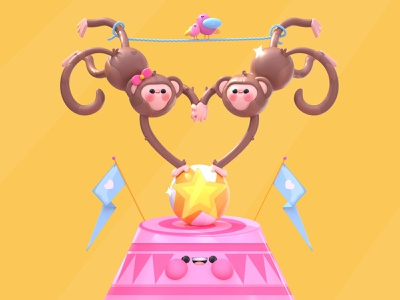 Love Show dribbble best shot animals c4d show valentines day ball birds circus money kawai love kawaii 3d artist kawaii art 3d art dribbble character design illustration 3d