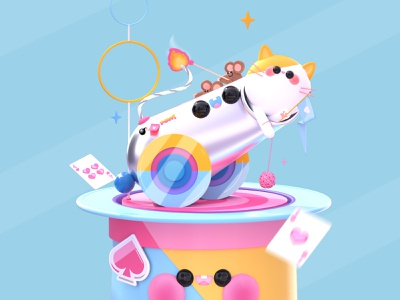 Boom! mouse cannonball boom character design illustration design magic kawaii faces kawai cats circus dribbble best shot kawaii kawaii art 3d art love character colors design illustration 3d