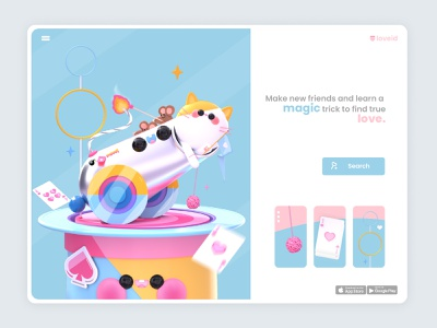 Home page Boom! ui design website design web design ui uiux landing page circus fire mouse cats 3d artist kawaii kawaii art 3d art dribbble character colors design illustration 3d