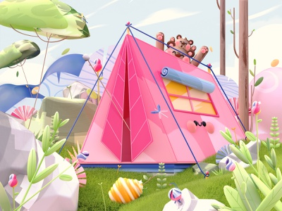 Letter A - Time of exploration flowers animals enviroment letter a 36dayoftype08 36daysoftype plants bear camping nature dribbble dribbble best shot 3d artist kawaii kawaii art 3d art love character illustration 3d