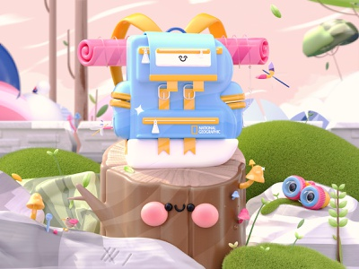 Letter B - Charming Backpack animals birds nature illustration plants 36daysoftype08 36daysoftype 3d artist national geographic nature travel backpack explore character dribbble kawaii art kawaii 3d art love illustration 3d
