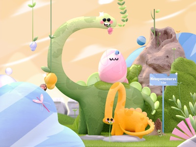 Letter C - Majestic Dinosaurs 36daysoftype nature illustration prehistoric animals love plants eggs dinosaurus dinosaurs 3dartist illustrations 3d artist dribbble best shot colors kawaii kawaii art 3d art character illustration 3d