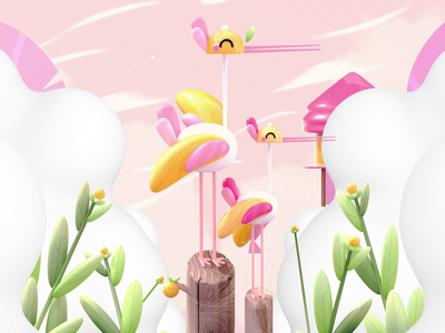 "Letter F - ""Empire of Lovely Birds"" animals 36daysoftype heron lemons nature illustration nature birds animated gif 3danimation animated kawai 3d animation animation kawaii kawaii art 3d art love character illustration 3d"