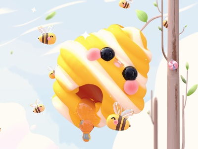 """Home Sweet Home"" Letter O 36daysoftype web design character design kawai kawaii nature honey bee bee honeybee honeycomb honey kawaii art dribbble best shot love 3d art dribbble colors character illustration 3d"