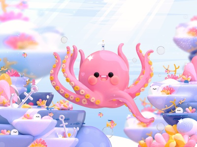 """Marine life"" Letter Q corals fish dribbble best shot animals sea 3dillustration character design oceans kawai octopus 3d artist kawaii kawaii art 3d art love design colors character illustration 3d"
