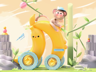 """Banana Car"" Letter N illustration art plant kawai cartoon plants nike car monkey banana 3d artist kawaii kawaii art 3d art dribbble design colors character illustration 3d love"