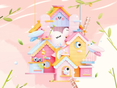 """Houses of Love"" Letter U fruits plants 3d illustrations eggs nature art lovebirds bird house house birds kawai love dribbble best shot 3d artist kawaii kawaii art 3d art colors character illustration 3d"