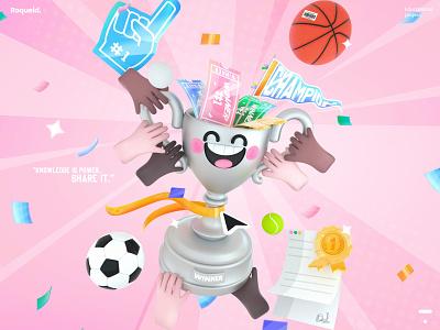 Online Sports Cup web football basketball education sports winners winn winner cup kawai kawaii branding design ui colors character 3d art illustration ill 3d