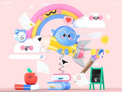 Kawaii Educational Dream baby character 3d art dribbble illustration books rainbow apple colors love kawai school educational dreams world kawaii art kawaii ui graphic design 3d